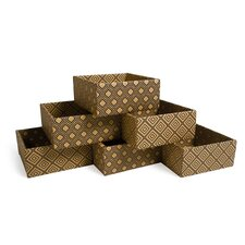 Diamond Print Decorative Storage Box (Set of 6)