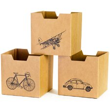 Cardboard Vehicle Cubby Bins (Set of 3)