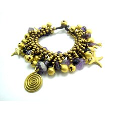 Goldtone Amethyst and Brass Bead Bracelet