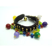Multi Colored Stones and Brass Beads Bracelet
