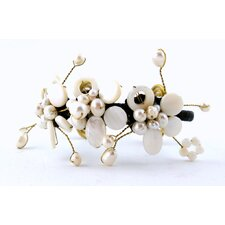 White Mother of Pearl Flower Cuff Bracelet