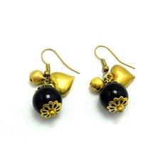 Goldtone Round Onyx Dangle Earrings