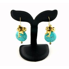 Goldtone Turquoise and Bead Dolphin Earrings