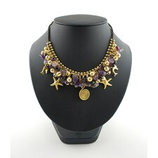 Goldtone Brass and Amethyst Bead Necklace