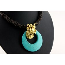 Goldtone Turquoise Bead Cord Necklace