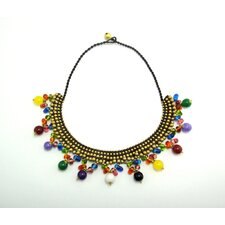 Multicolored Stones and Brass Beads Necklace