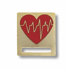 EKG Heart Cloisonne Badge Tac