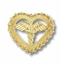Caduceus Filigreed Heart with Emblem Pin