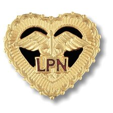 Licensed Practical Nurse Filigreed Heart with Emblem Pin