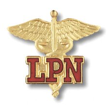Licensed Practical Nurse Caduceus with Emblem Pin