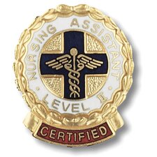 Certified Nursing Assistant Level II Wreath Edge with Emblem Pin