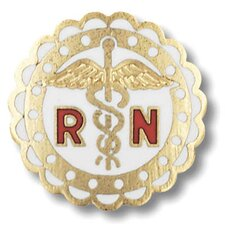 Registered Nurse Scalloped Edge with Emblem Pin