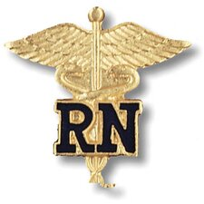 Registered Nurse with Caduceus Emblem Pin