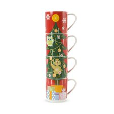 Kris Kringle 14 oz. Tree Mug (Set of 4)
