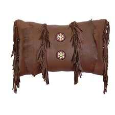 Accessory Pillows Deerskin Leather and Fringe with Embroidery Pillow