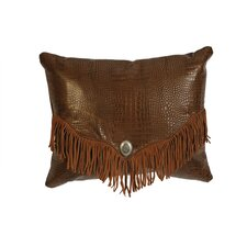 <strong>Wooded River</strong> Accessory Pillows Crocodile Leather Suede Fringe and Decorative Concho Pillow