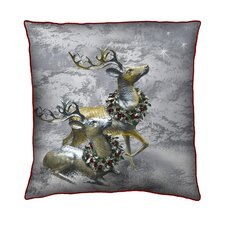 Holiday Elegance Deer Silk Pillow