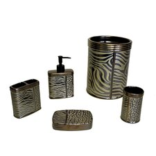 Zebra Print 5 Piece Bathroom Accessory Set