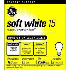 15W 120-Volt Incandescent Light Bulb (Pack of 2)