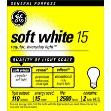 <strong>GE</strong> 15W Standard Incandescent Light Bulb (Pack of 2)