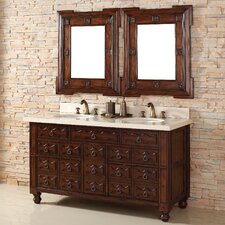 "Castilian 60"" Double Vanity Set with Stone Top"