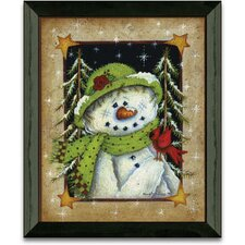 Feathered Friend Winter and Holiday Framed Painting Print