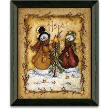 Snow Folk Hope Christmas Holiday Framed Painting Print