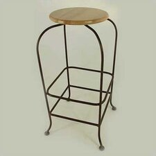 "24"" Backless Wood Swivel Barstool"