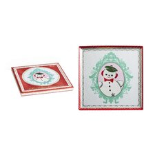 Christmas Cameo Square Serving Tray
