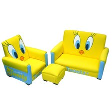 <strong>Harmony Kids</strong> Warner Brothers Tweety Kid's Sofa, Chair and Ottoman Set