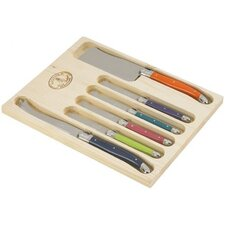 Laguiole 6 Piece Cheese Knife Set with London Mix Handles