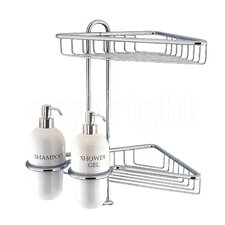 Shower Corner Double Shower Caddy and Soap Dispenser