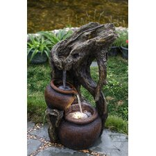Polyresin and Fiberglass Tree Trunk and Urns Water Fountain