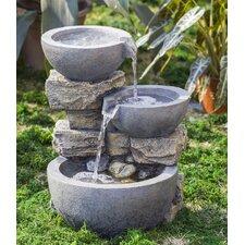 Polyresin and Fiberglass Rock and Pot Water Fountain