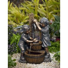 Polyresin and Fiberglass Kids Playing Water Fountain