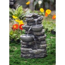 Polyresin and Fiberglass Rock and Pot Waterfall Water Fountain