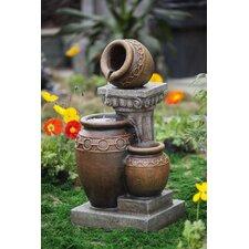 Classic Polyresin and Fiberglass 3-Pot and Column Water Fountain
