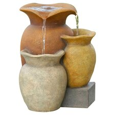 Polyresin and Fiberglass Tiered Multi Colorful Pots Tabletop Fountain