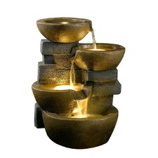 Polyresin and Fiberglass Tiered Pots Fountain