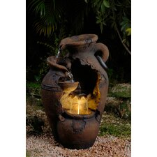 Old Fashion Pot Outdoor Fountain with LED Light