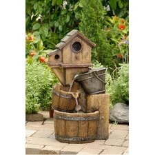 Polyresin and Fiberglass Tiered Bird House Fountain
