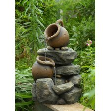 Polyresin and Fiberglass Tiered Small Pots Fountain
