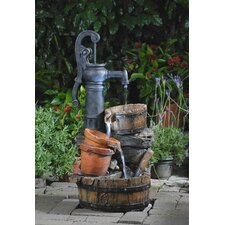 Polyresin and Fiberglass Tiered Classic Water Pump Fountain