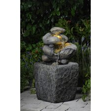 Polyresin and Fiberglass Tiered Rock Fountain