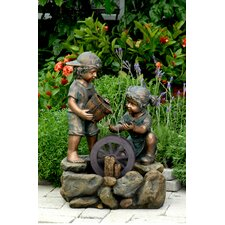 Polyresin and Fiberglass Two Kids Fountain