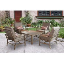 Forby 5 Piece Outdoor Patio Conversation Seating Group with Cushions