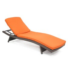<strong>Wicker Lane</strong> Wicker Adjustable Chaise Lounger with Cushion