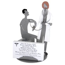 Desk Accessory Doctor with Female Patient Business Card Holder