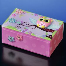 Polka Dot Owl Music Jewelry Box
