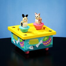 Twirlytunes Kitty and Puppy Wooden Music Box